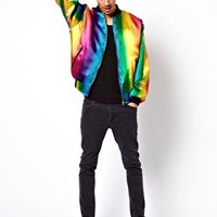 Reclaimed Vintage Rainbow Varsity Jacket at asos.com