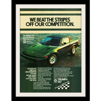 "1977 TRIUMPH TR7 Green Car Ad ""Victory Edition"" Vintage Advertisement Print"