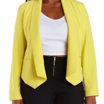 Plus Size Lemon Zest Studded Yellow Open Blazer by Charlotte Russe