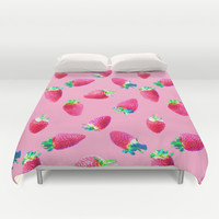 Pink Strawberry Pop Duvet Cover by Micklyn