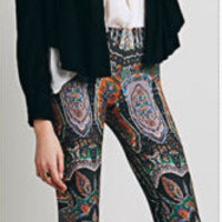 Bell Bottom Pants Paisley Print Lounge Stretch Yoga Hippie