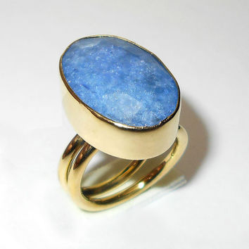 Blue Corundum Ring, Gemstone Rings, Bezel Set Ring, Gold Vermeil Ring, Vermeil Jewelry - Statement Ring - Gift Ring, Oval Ring, Gift For Her