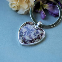 Heart Key Ring with dried flowers