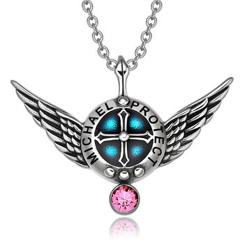 Archangel Michael Angel Wings Protection Shield Magic Powers Charm Pink Crystal Pendant 22 inch Necklace