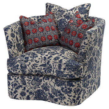 Marie Floral Chair, Navy, Club Chairs