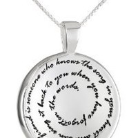 """Sterling Silver """"A True Friend Is Someone Who Knows The Song In Your Heart and Can Sing It Back To You When You Have Forgotten The Words"""" Pendant Necklace, 18"""""""