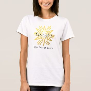 Personalized Trendy Gold Foil Star Festive Holiday T-Shirt