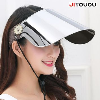 JIYOUOU The hd vision plastic visor organizer summer transparent womens sun motorcycle helmet Cap men window Anti UV green