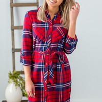 Grace & Lace Plaid Button-Down Shirt Dress
