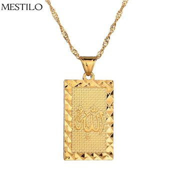 MESTILO New Punk Prophet Mohammed Allah Pendant Necklaces For Men 18KGP Gold Plate Long Necklace Muslim/Islamic Arab Ahmed Joyas