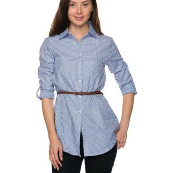 Blue Button-Down Tunic Shirt with Brown Belt