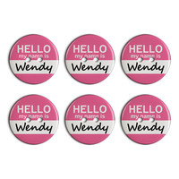 Wendy Hello My Name Is Plastic Resin Button Set of 6