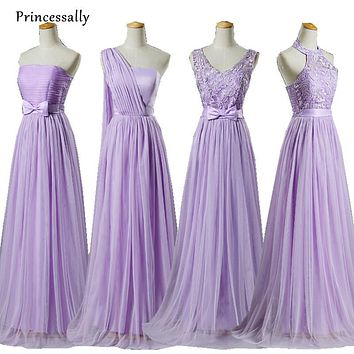Purple Bridesmaid Dresses Long V-neck Crepe Cheap Free Size Beautiful Bridesmaids Dresses Vestido De Festa De Casamento Longo
