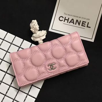 Chanel Women Purse Fashion Simple Solid Color Long Section Button Wallet