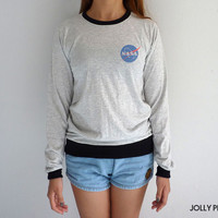 Nasa Logo Long Sleeve Tshirt Nasa Sweatshirt Tumblr Sweater Geek Pocket Shirt