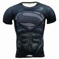Dark Superman Short-Sleeve Superhero Compression T-Shirt