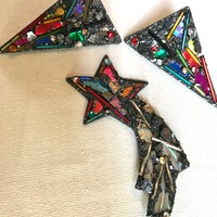 Over the Top Rainbow Crystal Glitter Shooting Star Pin matching & Huge Awesome 80's Bling Earrings Set