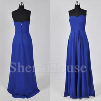 Sweetheart Strapless A-Line Long Bridesmaid Celebrity dress ,Floor length Chiffon Evening Party Prom Dress Homecoming Dress