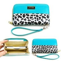 JAVOedge Smartphone Leopard Zipper Wallet Case with Wristlet for Apple iPhone, Samsung, HTC, Nexus (Turquoise)
