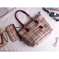 BURBERRY CLASSIC LATTICE LEATHER TOTE BAG SHOPPING BAG
