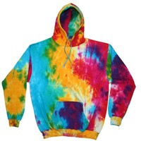 Tie Dye MULTI RAINBOW Retro Vintage Groovy Adult Pullover Hoody Hooded Sweatshirt Hoodie, Medium