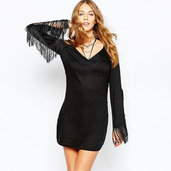 Black V-Neck Fringed Long Sleeves Mini Dress