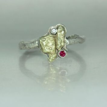 A 14K Gold Nugget Silver Twig Ruby Sapphire Organic ring