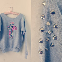 FLORAL CROSS SWEATER with studded shoulders