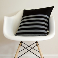 Stripe Patterned Pillow Cover in Black and Grey Linen by JillianReneDecor - Modern Home Decor - Striped Pillow - Gift for Him