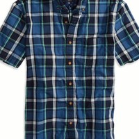 AEO Men's Factory Plaid Short Sleeve Button Down Shirt