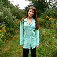 Mint Green Cardigan Sweater with Gold Buttons Medium