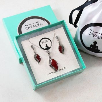 Carnelian Marcasite Necklace and Earrings Jewelry Set in Sterling Silver