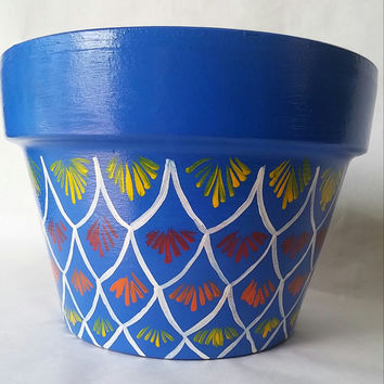 Painted clay pot, blue flower pot, hand painted planter, colorful pottery, hand painted pot, wide flower pot, Italian clay pot