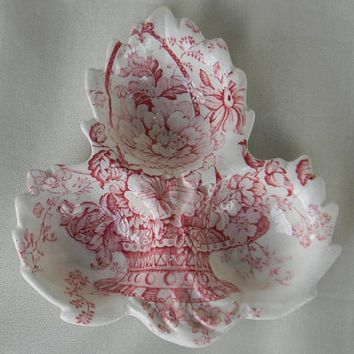 Red Transferware Maple Leaf Shaped Three Section Dish Charlotte Basket of Flowers