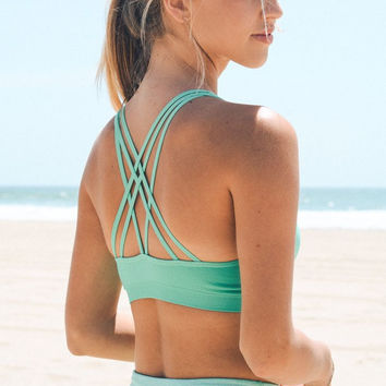 Strappy Back Sports Bra - Mint