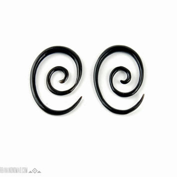 "Ear Plugs Oval Spiral Piercing Earrings Horn Expanders Gauges  16g 14g 12g 10g 8g 6g 4g 2g 0g 00g 1/2""- GA013 H"