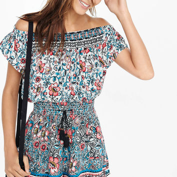 Folksy Floral Print Off The Shoulder Romper from EXPRESS