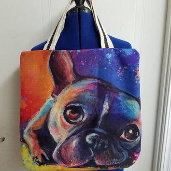 Terrier - bulldog - dog - puppy - doggie -  rockabilly  - Retro - canvas - lined - beach - bag - purse - tote