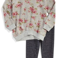 Girl's Pippa & Julie 'Dainty Floral' Sweatshirt & Jeggings