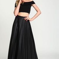 Accordion Pleats Leatherette Maxi Skirt