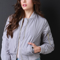 Puff Bomber Zipper Jacket