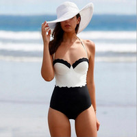 Black and White Wavy Cut Halter Swimsuit