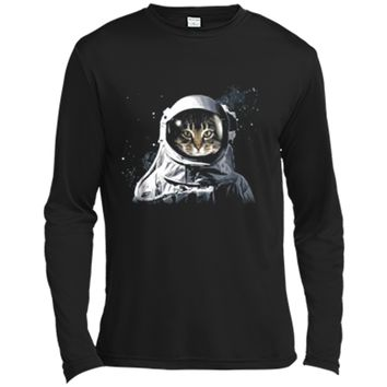 Catronaut Cat Astronaut Deep In Space Cosmic Graphic  Long Sleeve Moisture Absorbing Shirt