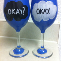 John Green The Fault in Our Stars Hand Painted Wine Glass Set