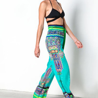 EMERALD FESTIVE PRINT WIDE LEG PANTS