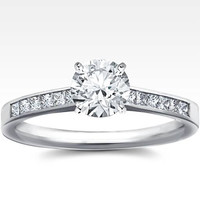 Cubic Zirconia Engagement Ring- Customizable Cathedral Princess Channel Setting