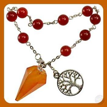 Wrapped in Carnelian Warmth Tree of Life Pendulum Bracelet