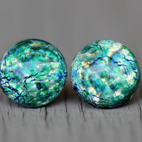 Opal Stud Earrings : Green, Blue, Teal, Yellow Glass Opal Dome Stud Earrings, Sterling Silver Posts, Fake Plugs