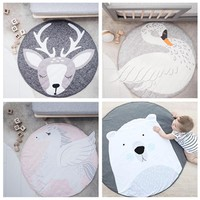 Cute Cartoon Animals panda Face Quilted Play Mats Baby Blanket Carpet Rug Nordic Style Kids Bed Room Decor Photo Props