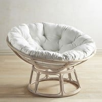 Papasan Whitewash Chair Frame